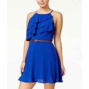 Speechless | High Neck Belted Blue Minidress